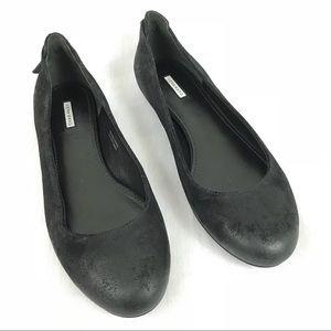 Vera Wang Hania Aged Black Leather Flat Shoe 8M